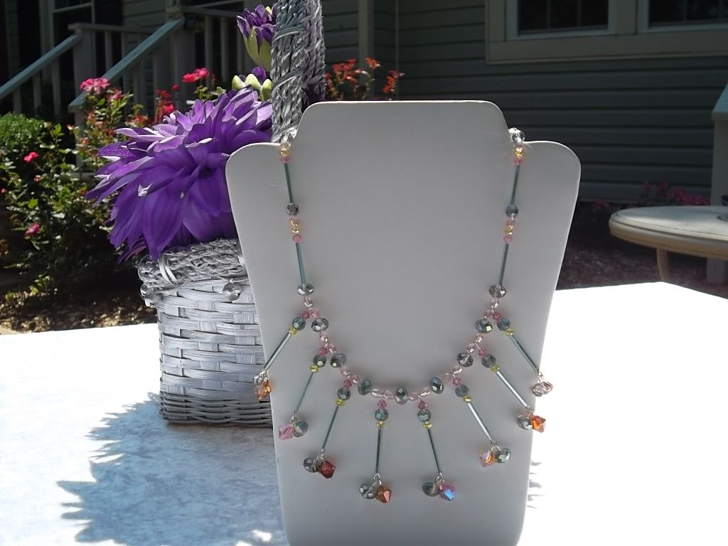 """Multi color crystals with mint green tube beads. 17"""""""
