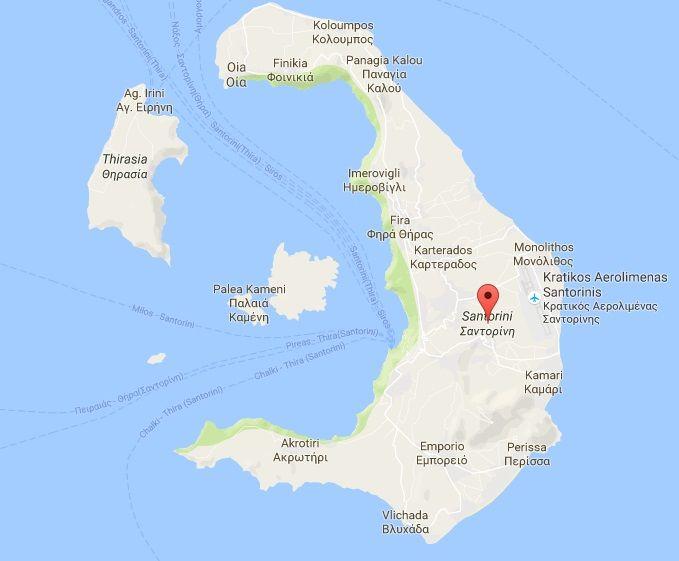 Map of Santorini Greece Santorini Greece Pinterest