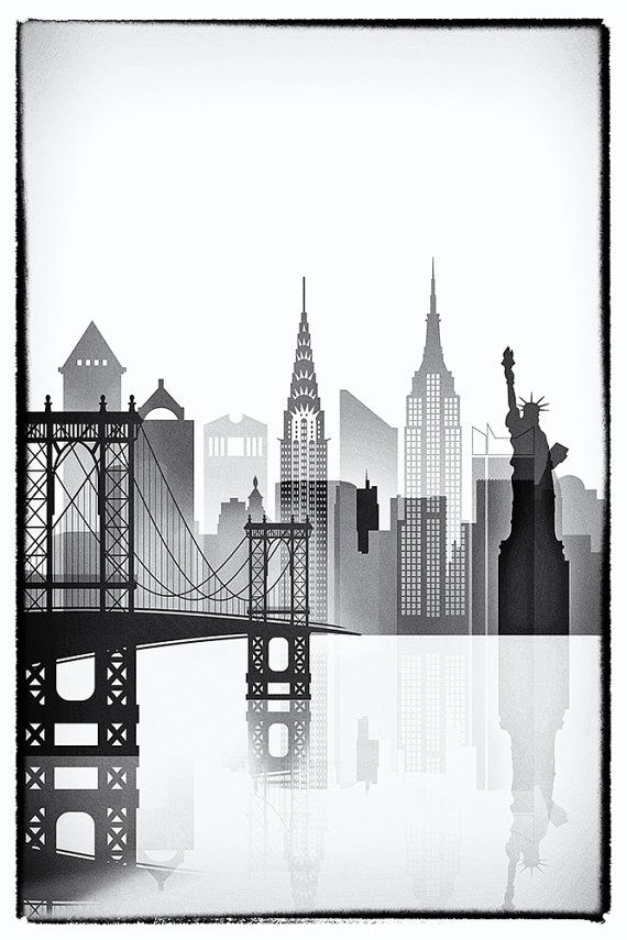 New York graphic work, NY black and white, New York poster Frame is ...