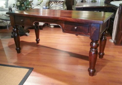 Charmant Solid Mango Wood Plantation Styled Office Writing Desk Carved Legs  Farmhouse Menu0027s Office  $1,389.00