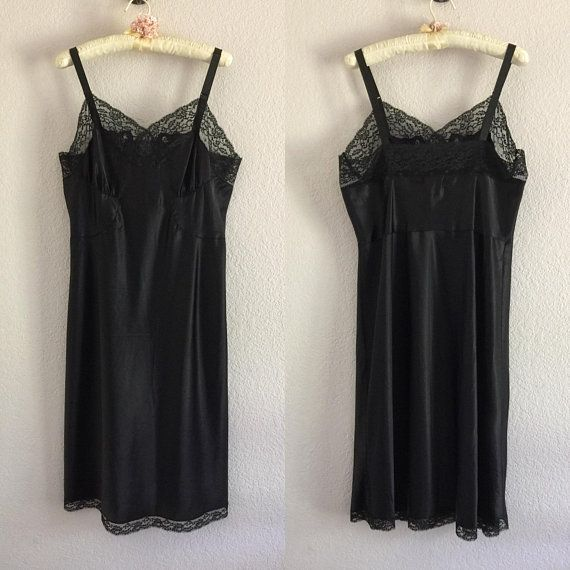 c9a5e121867 Vintage Black Full Slip Lingerie Barbizon Size 20 Miss Satin