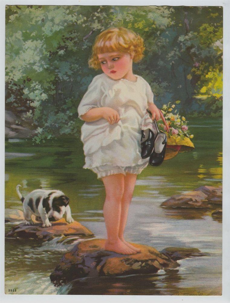 Vintage Henry Hintermeister Print Sweet Little  Girl & dog crossing stream #Vintage
