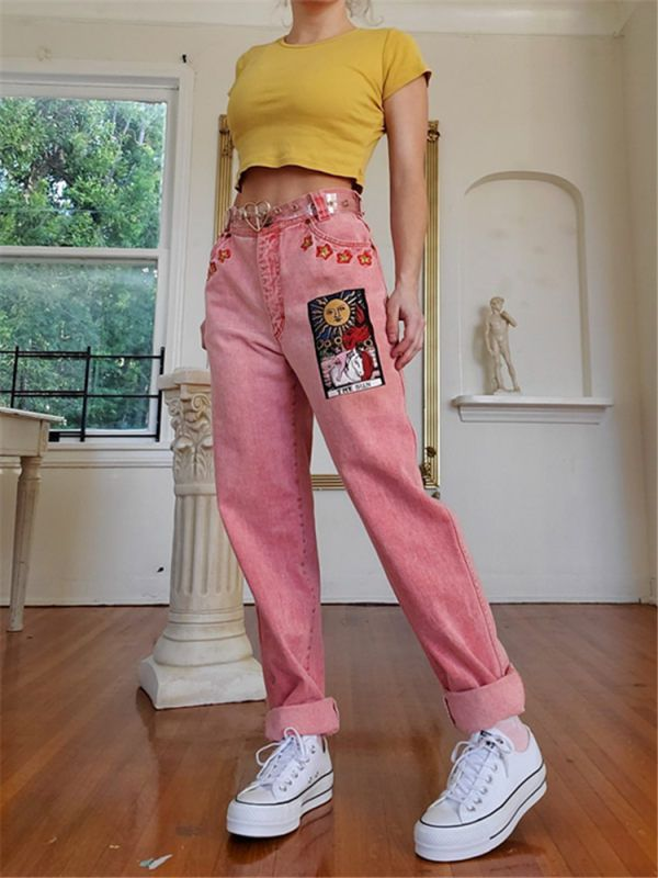 Fashion Stitching Cartoon Pink Pants - outlawfe.com
