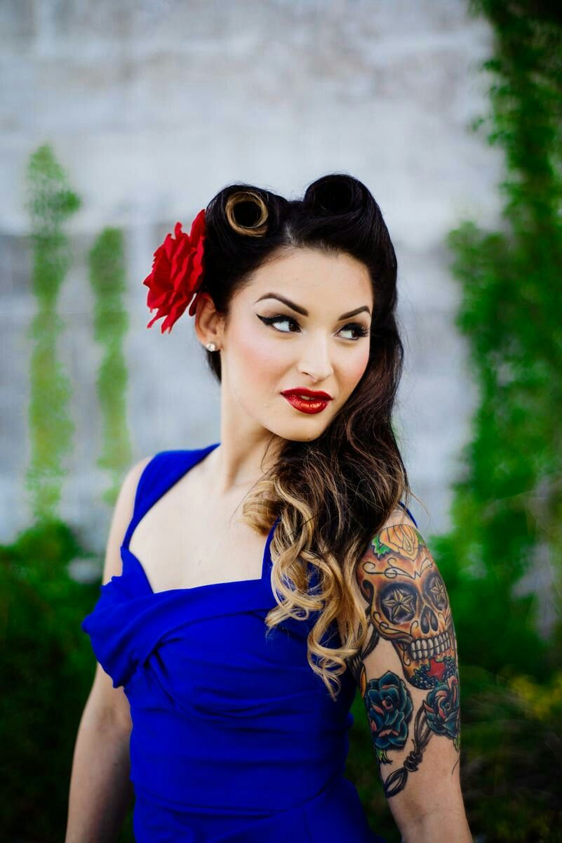 pin up style makeup and hair for engagement photos! - orange county