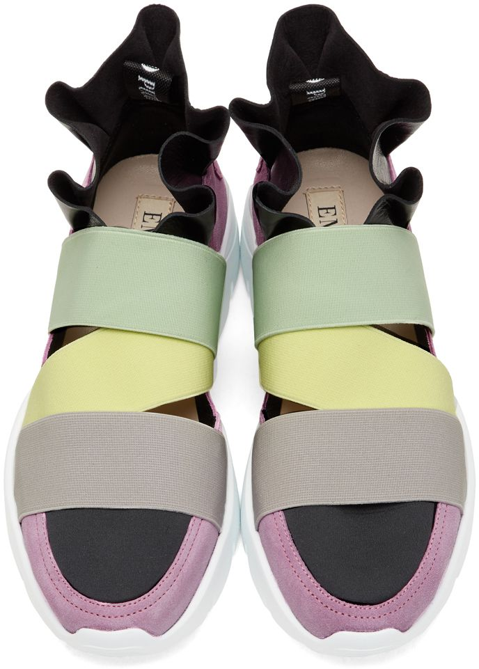 c11b39d3fc60 Emilio Pucci - Pink   Black Colorblock  Paris  Ruffle Slip-On Sneakers