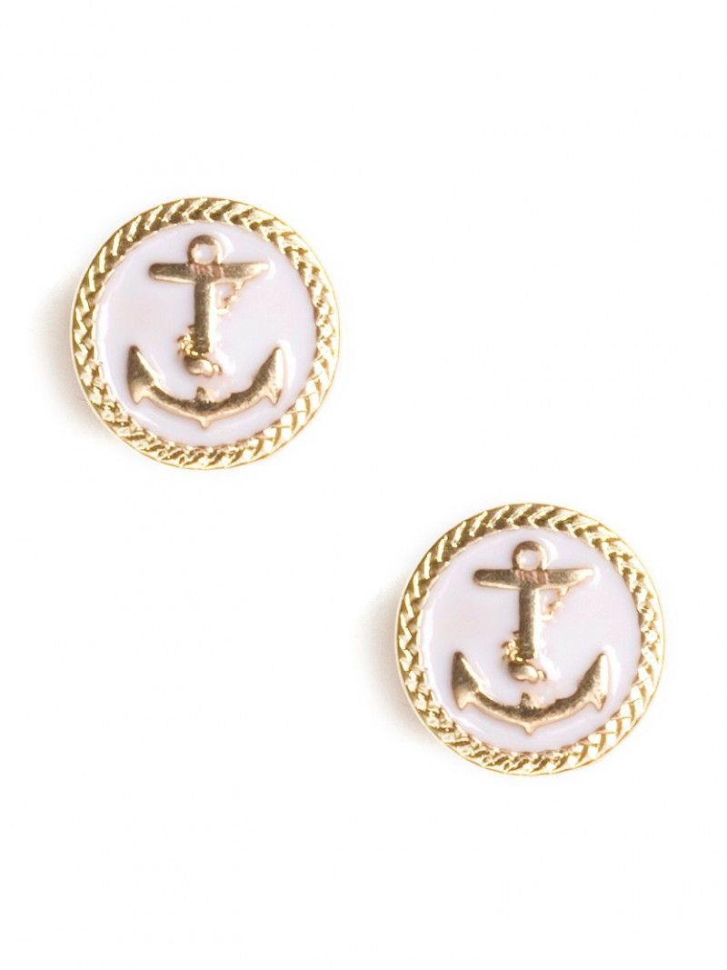 I love the nautical theme - these come in red/gold and navy/gold too!  Popeye Sailor Studs