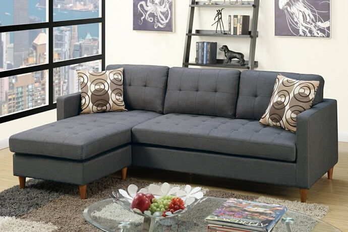 Poundex F7094 2 Pc Ebern Designs Haskell Leta Blue Grey Polyfiber Fabric Sectional Sofa Reversible Chaise With Images Grey Sectional Sofa Sectional Sofa Couch
