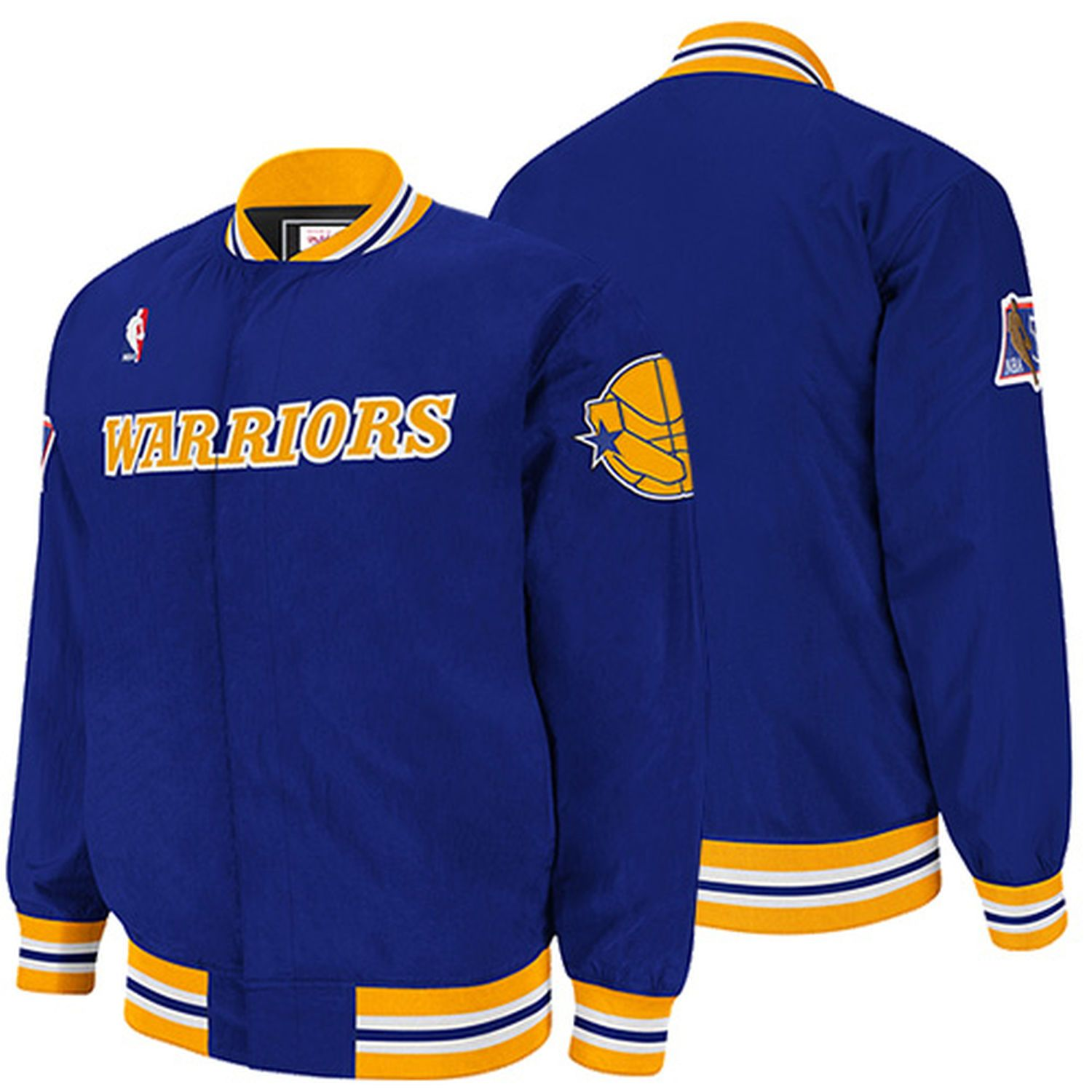Mitchell Ness Golden State Warriors Authentic Vintage Warm Up Jacket Royal Blue Nba Clothing Mitchell Ness Golden State Warriors