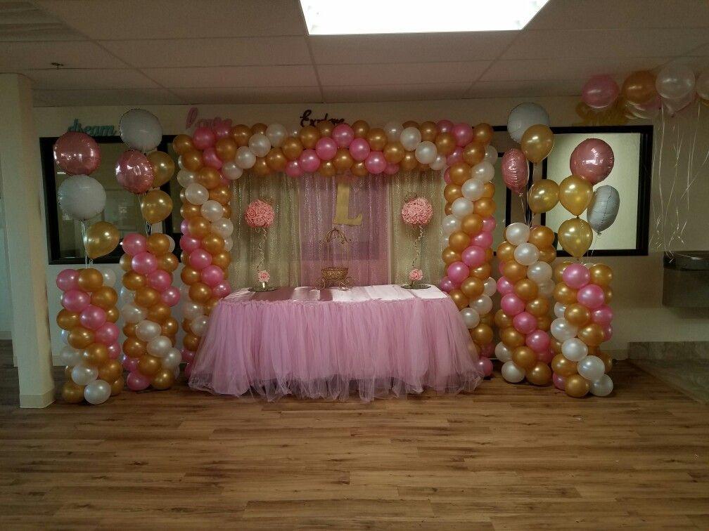 Rosa y dorado baby shower mesas principales pinterest - Decoracion de cumpleanos rosa y dorado ...
