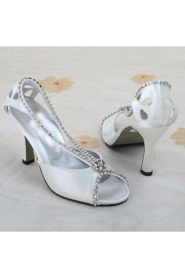 €46.86 - højhælede sko med åben top diamant bryllup sko
