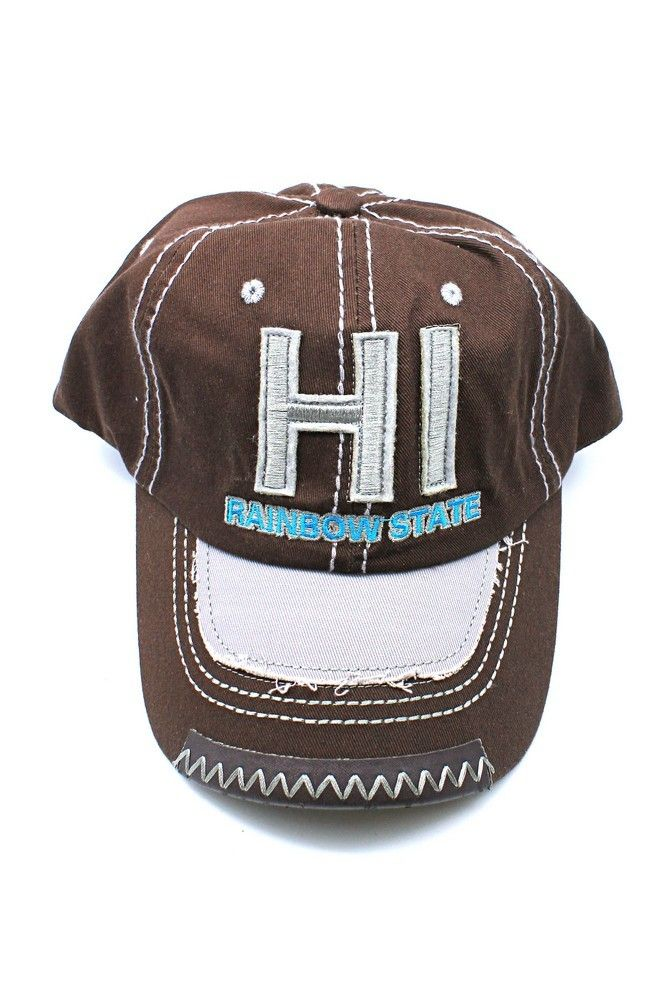 44e41c46e29a96 Hawaii HI Rainbwo State White Line Embroidered Cap Hat in Solid Brown