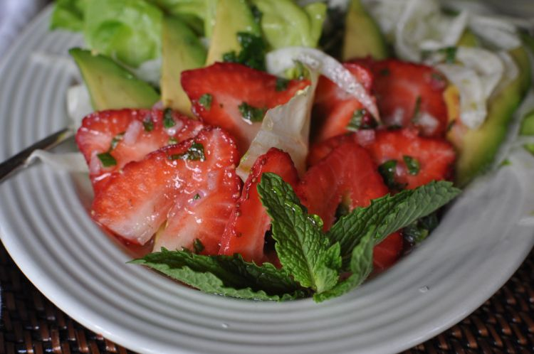 Strawberry Avocado Salad with Fennel and Mint and a Lime Vinaigrette