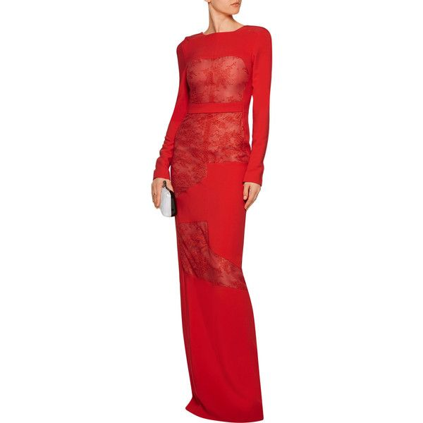 Antonio Berardi Lace-paneled stretch-cady gown ($985) ❤ liked on ...