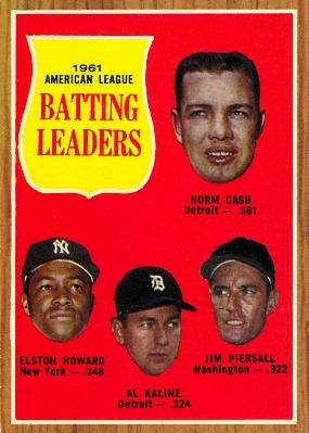 Al Kaline - AL Batting Leaders Card 1962 - Topps  Card Number: 51