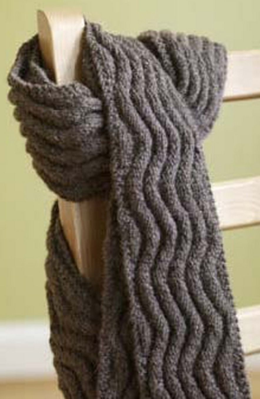 Free Pattern For A Simple Rib Scarf That Looks Like Cables