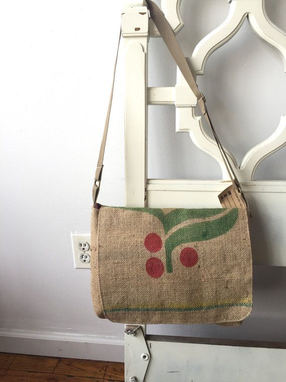 Handmade from coffee bag! Inside lining and adjustable strap