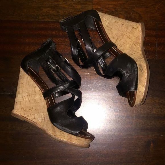 "DV by Dolce Vita Wedges DV by Dolce Vita Tyla Cork Wedge Sandals in black. Leather sole. Heel approx. 4""-4.5"". Size 6. Gently used but still in excellent condition. Light scuff on the side of the right one by toes (see 1st picture). DV by Dolce Vita Shoes"