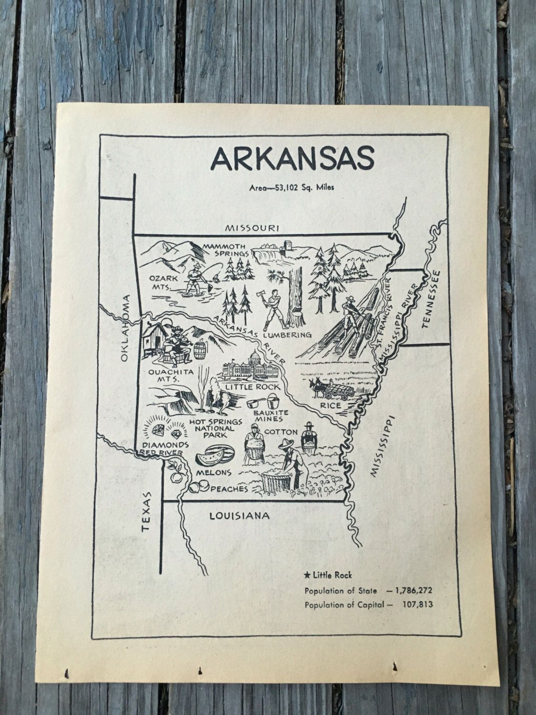 Louisiana Deer Map%0A Arkansas Map Print   Vintage Map Artwork   Kids Room Decor       s Coloring  Book Page