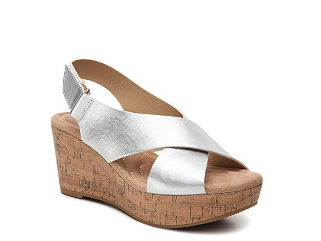 cbefb0a12 Women CL by Laundry Dream Girl Wedge Sandal -Silver