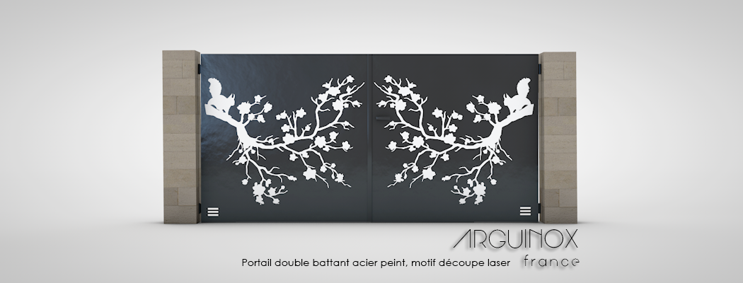 portail double battant acier peint motif d coupe laser. Black Bedroom Furniture Sets. Home Design Ideas