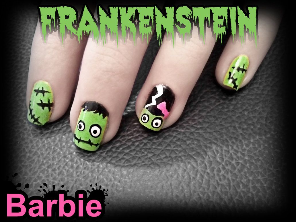 Halloween Inspired Bride of Frankenstein and Frankenstein Nail Art - Halloween Inspired Bride Of Frankenstein And Frankenstein Nail Art