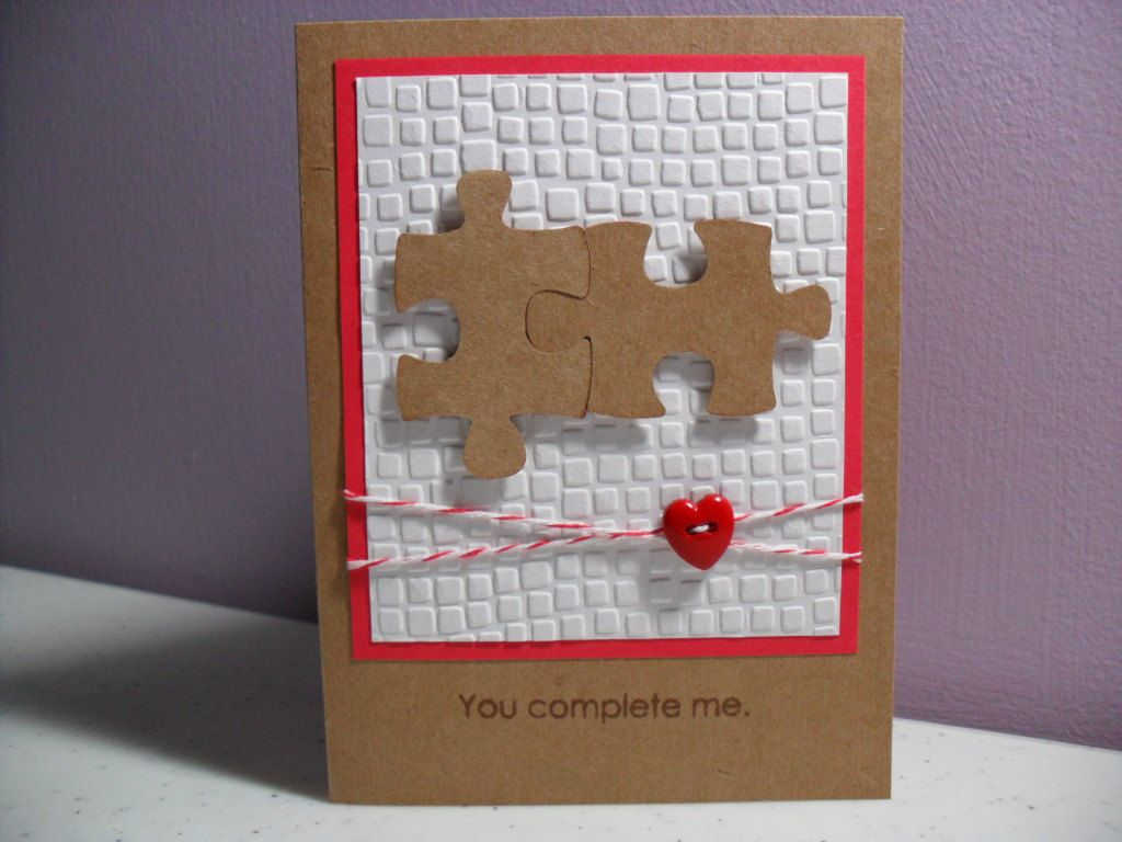 Handmade anniversary card puzzle pieces you complete me the