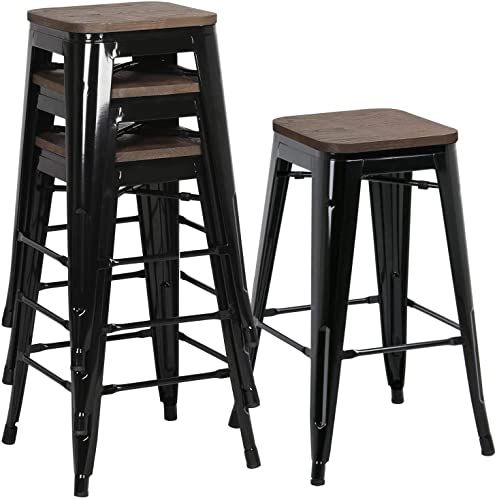 New Yaheetech 26inch Seat Height Metal Bar Stools Dining Stools