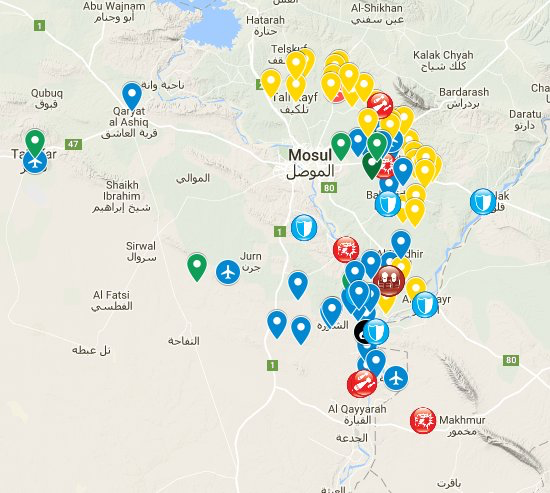 Map tracking Mosul offesnive Iraq ISF ISIS Peshmerga drive