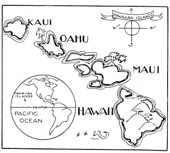 A to Z Kids Stuff | Hawaii Map Color Page | One day I\'m gonna be a ...