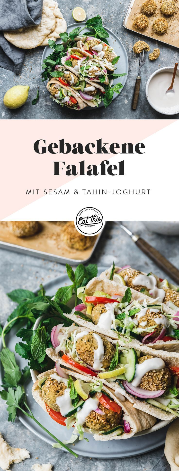 Gebackene Falafel mit Sesam & Tahin-Joghurt · Eat this! Foodblog • Vegane Rezepte • Stories