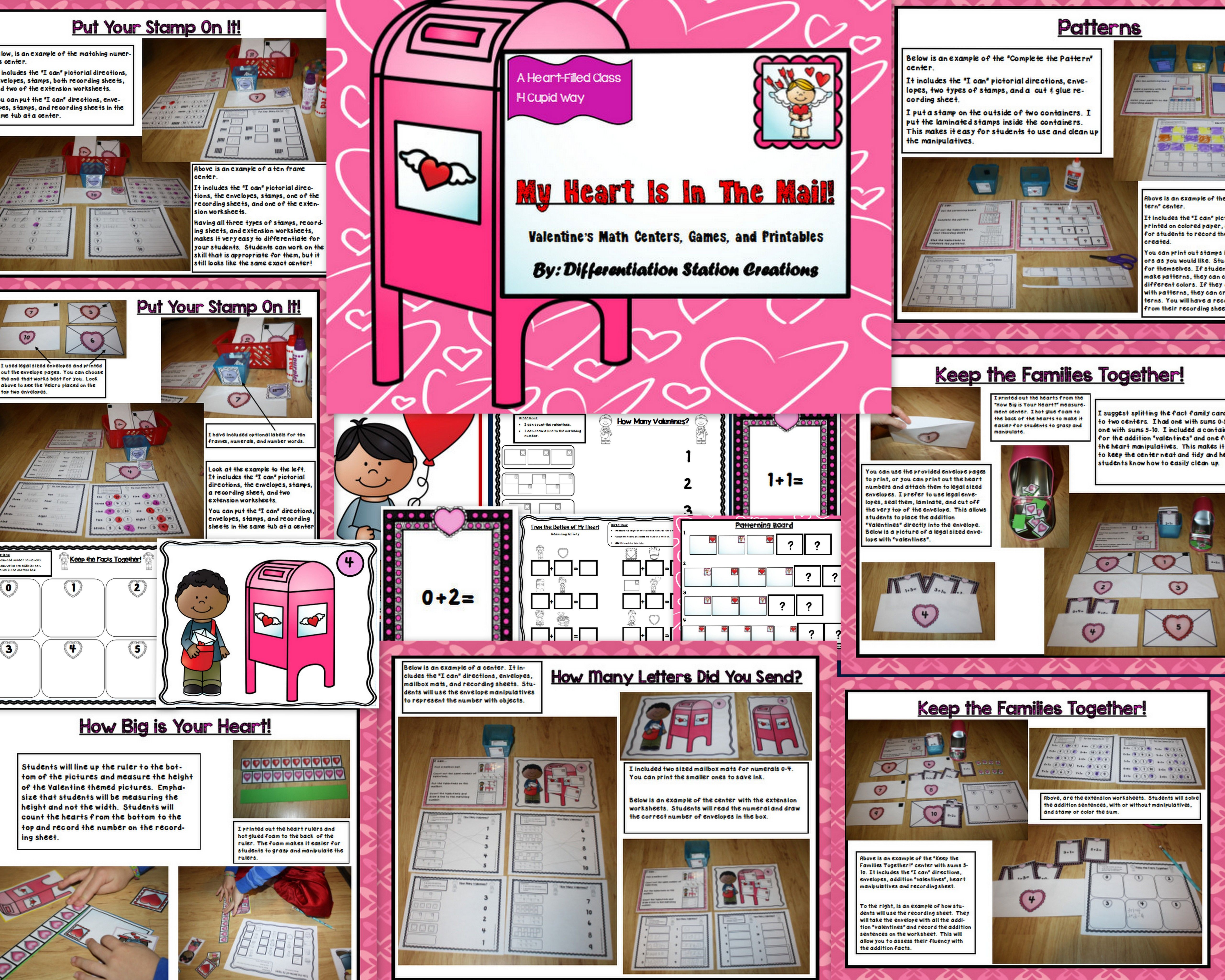 Differentiated Valentine S Day Math Centers Games And
