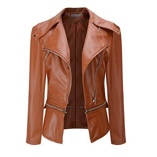 NiSeng Manteau Hiver Femme Blouson imitation cuir Fermeture