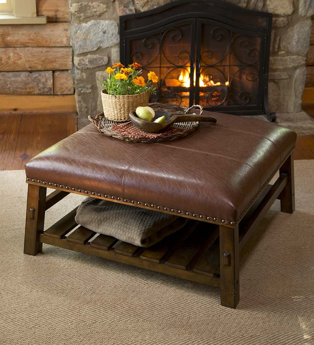Canyon leather coffee table accent tables home accents canyon leather coffee table accent tables geotapseo Choice Image