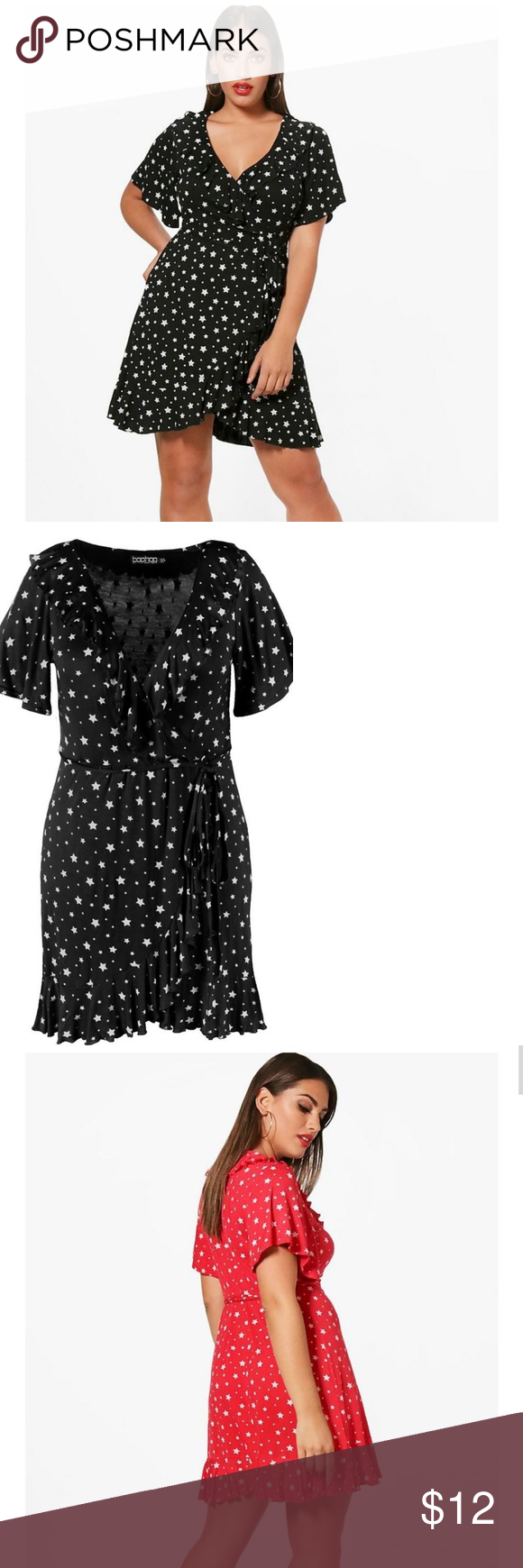 81cceaadd2b2 Boohoo Bella Star Wrap Dress Size 18 I ONLY HAVE THIS DRESS IN BLACK WITH  WHITE