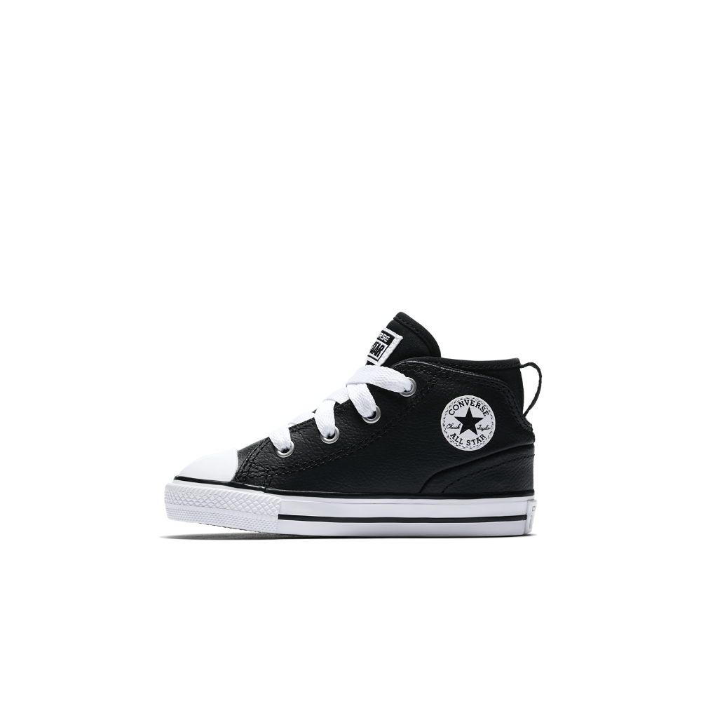 Converse Chuck Taylor All Star Syde Street Leather Infant Toddler Shoes  Size 10C (Black) 1ee396781