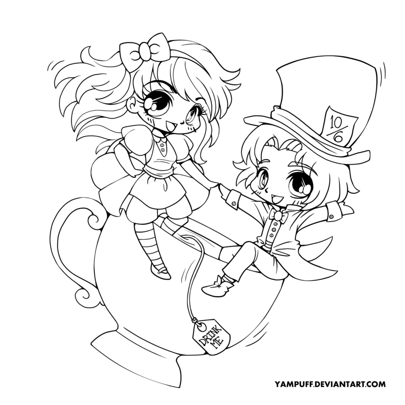 alice and the mad hatter lineart by yampuffdeviantartcom on deviantart adult coloring pagescoloring bookchibi