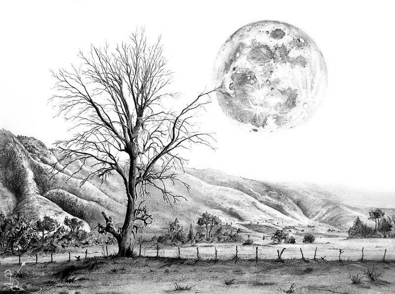 14ce83cb90398d439fb9816f067d81a9 » Pencil Realistic Moon Drawing