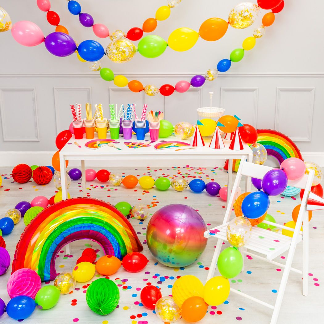 Rainbow Party Balloons Rainbow Party Decorations Candy Theme Birthday Party Rainbow Theme Party