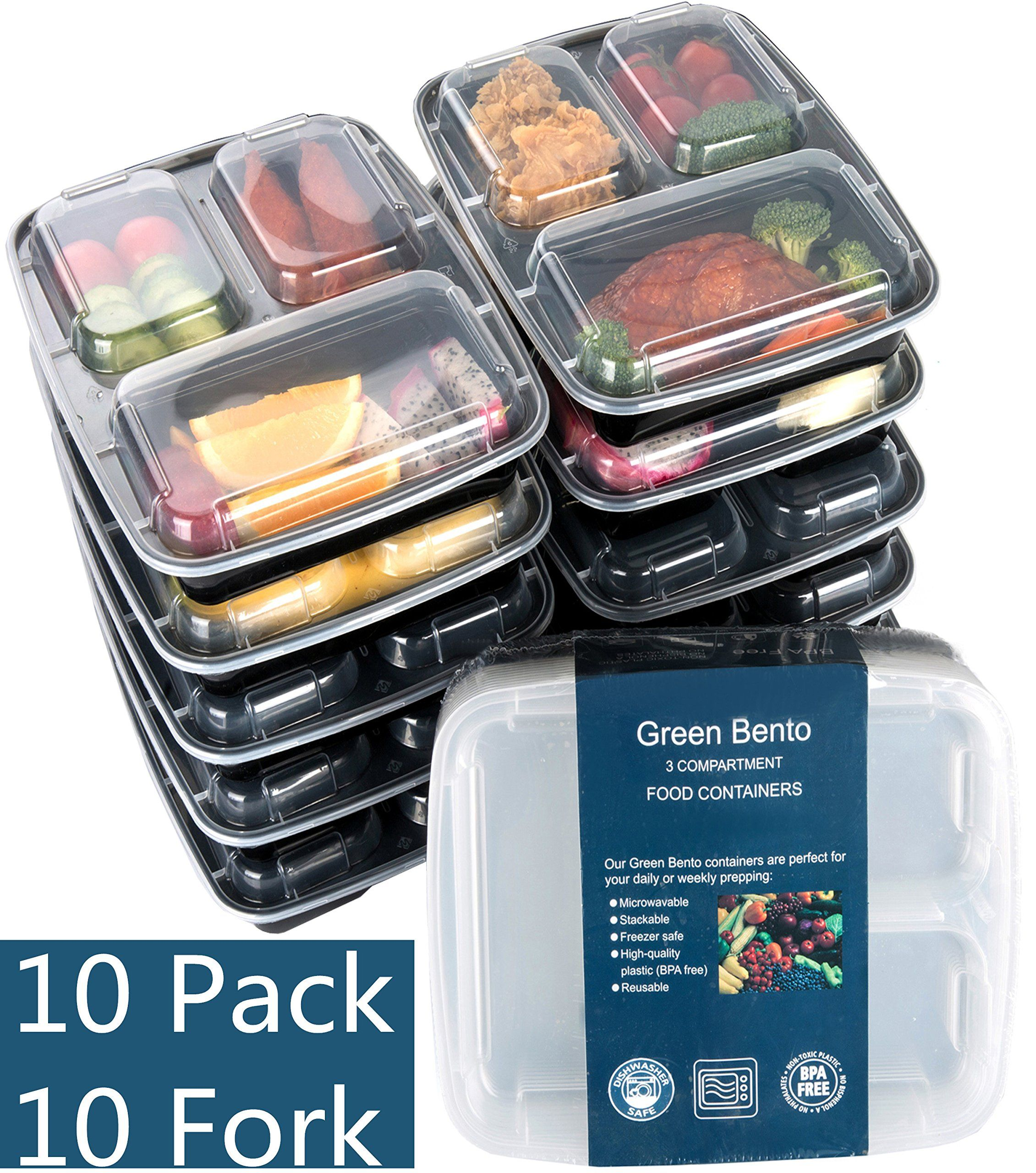 10 Pack-3 Compartment Food Container with Lids for Portion Control Square Divided Plate  sc 1 st  Pinterest & 10 Pack-3 Compartment Food Container with Lids for Portion Control ...