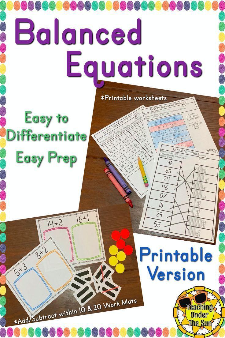 Balancing Equations First Second Grade Activity Teaching