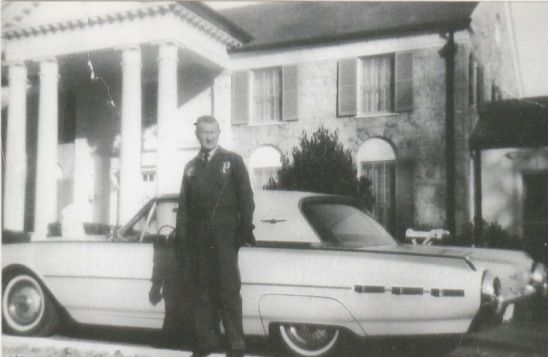 Vester Presley Standing Next To Mackeys 1962 Thunderbird In Front Of Graceland Graceland Memphis Elvis Presley Graceland Graceland