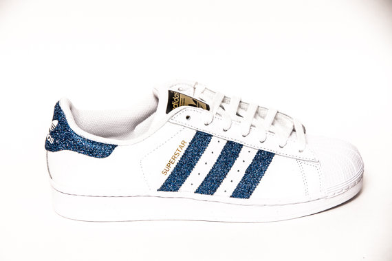 save off cb02d ae93a Glitter - Limited Edition Starlight Blue Adidas Superstars II Fashion Sneakers  Shoes