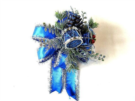 Blue and silver holiday decoration/ Large blue and silver gift wrap - blue and silver christmas decorationschristmas tree decorations