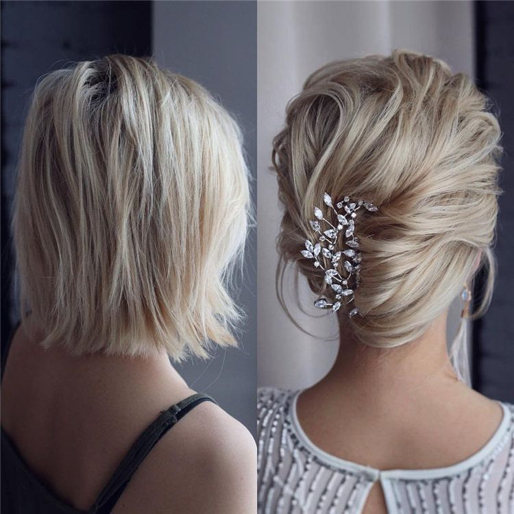 50 Stylish Short Hairstyle Ideas For Women You Can Try 2019 Shorthaircuts Shorthairstyles Short Hair Styles Short Wedding Hair Short Hair Updo