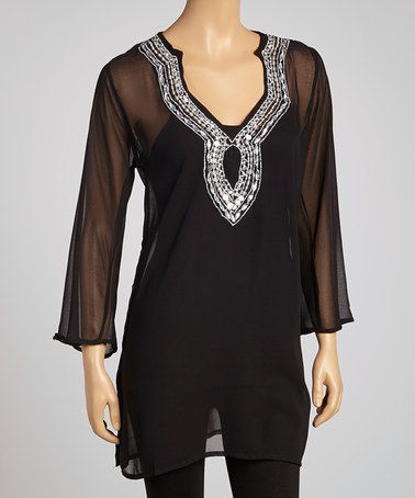 Black Sequin Chiffon Tunic by Life and Style Fashions on #zulily!
