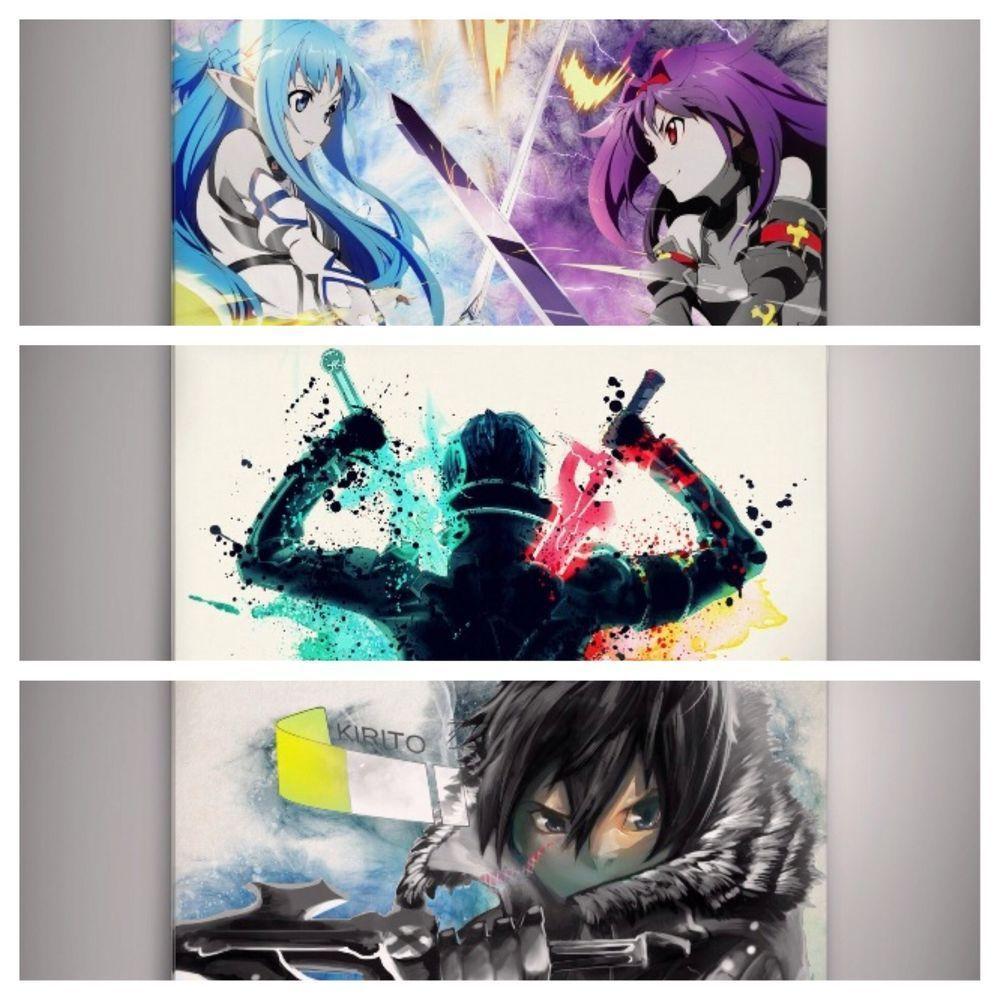 Set Of 3 Sao Kirito Asuna Sword Art Online Anime Poster Watercolor 9x12 Print