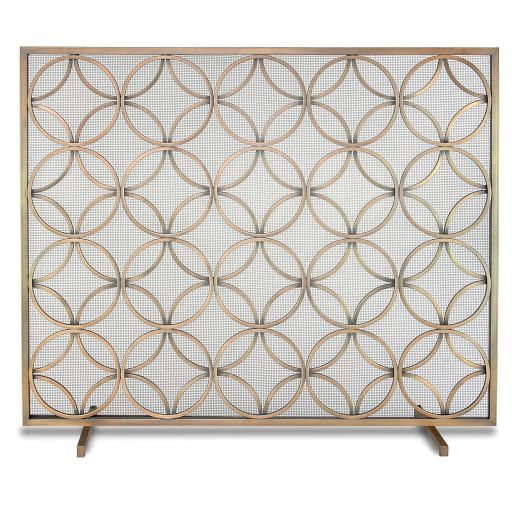 Single Panel Fireplace Screen Burnished Brass Home Decor And