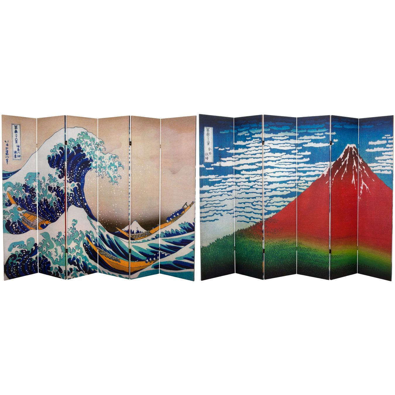 6 Ft. Tall Double Sided Hokusai Room Divider   Great Wave/Red Fuji