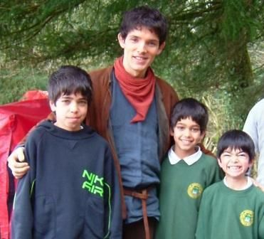 Merlin On Bbc Photo Colin With The Kids Colin Morgan Merlin Photo