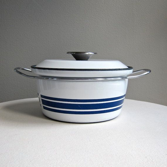 Cathrineholm Enameled Stock Pot Sauce Pan Blue Striped Design Dutch Oven Cookware And Bakeware Kitchen Cookware Stock Pot